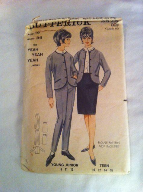 "Sewing patterns for Beatles ""yeah yeah yeah"" jackets- 1964"