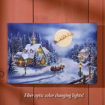 Holiday Village Lighted Wall Canvas Decoration Christmas Canvas Winter Wall Decor Holiday Village