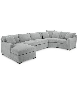 Furniture Radley 4 Piece Fabric Chaise Sectional Sofa Created For Macy S Reviews Furniture Macy S In 2020 Sectional Sofa Gray Sectional Living Room Sectional Sleeper Sofa