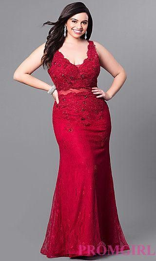 Long Lace Plus Size V-Neck Prom Dress | Promgirl Dresses in ...
