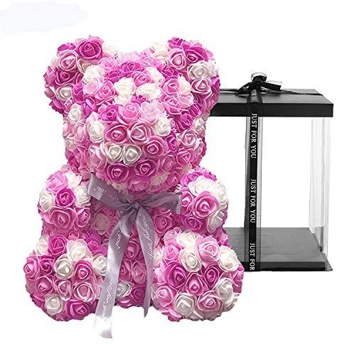 Meosu Rose Flower Teddy Bear Fully Assembled 10 Inches Pe Rose Flower Hand Made Artificial Teddy Bear For Your In 2020 Valentines Day Decorations Rose Flower Handmade