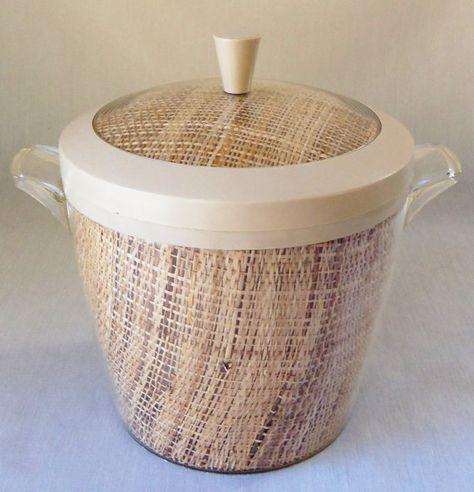 set of 4 Vintage Raffiaware MCM Insulated Thermal Bowls