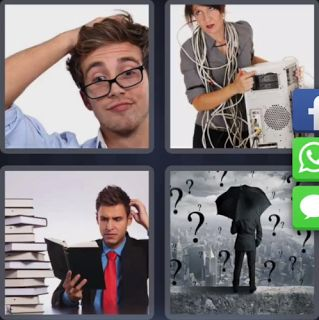4 Fotos 1 Palabra Paraguas Interrogantes Hombre Libros Enigma
