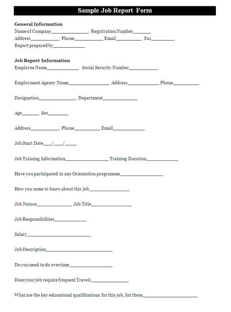 A job report form is prepared by an employee to provide details - overtime request form