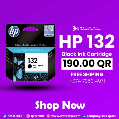 HP 132 Black Ink Cartridge with free shipping all over Qatar.