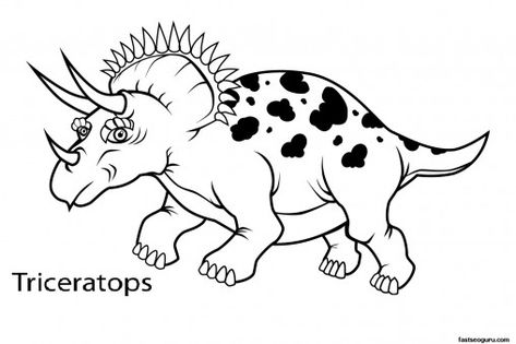 Printable Dinosaur Triceratops Coloring In Sheets Printable