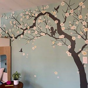 Wall Decal Charming Pink Blossom Tree Cherry Blossom Tree Decal For Nursery Decoration Large Tree Wall Decal Mural Dk251 In 2020 Pink Blossom Tree Blossom Trees Tree Wall