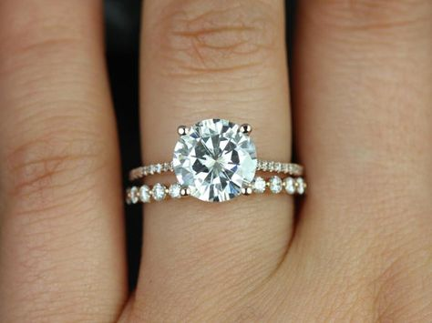 Eloise 9mm & Petite Bubble Breathe 14kt Gold FB Moissanite and Diamonds Cathedral Wedding Set (Other metals and stone options available)