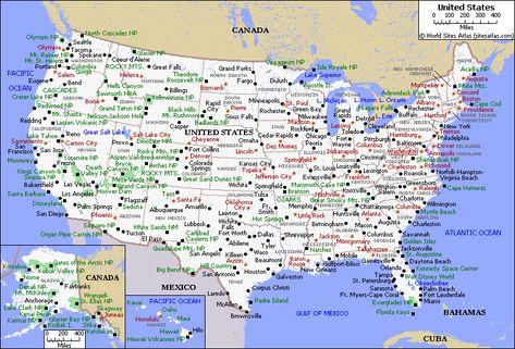 Printable Map of USA with States and Cities | Printable Map of USA ...