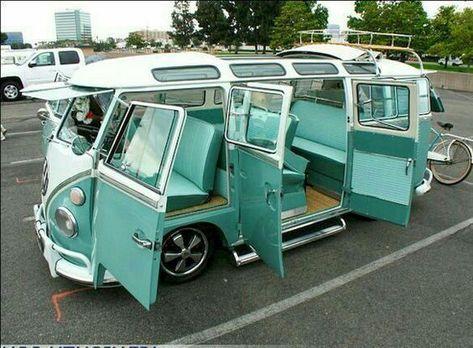 30 Creative Vw Bus Interior Design Ideas - Food World Vw Camper, Volkswagen Bus Interior, Camper Interior, Vw California T6, Kombi Trailer, Carros Vw, Vans Vw, Combi Ww, Combi Split