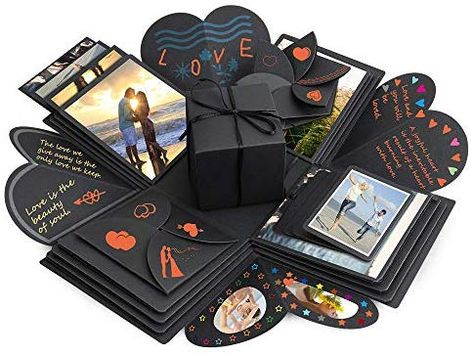 Komake Überraschung Box, Explosion Box, DIY Geschenk Scrapbook und Foto-Album für Weihnachten/Valentine/Jahrestag/Geburtstag/Hochzeit (Schwarz): Amazon.de: Küche & Haushalt