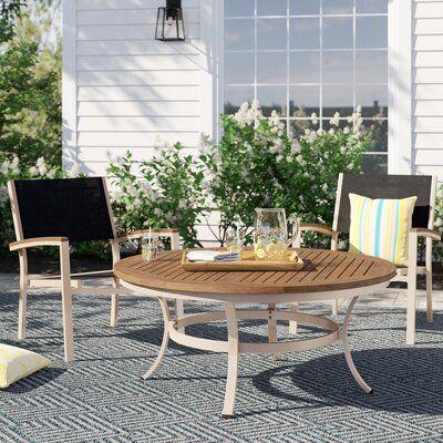 Sol 72 Outdoor Caspian 2 Piece Teak Seating Group Fabric Colour
