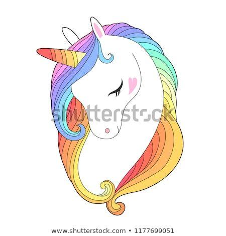 White Unicorn Wirh Rainbow Hair Cute Unicorn Face Isolated