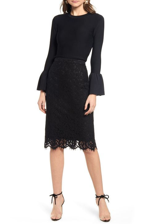 Women's Rachel Parcell Lace Pencil Skirt, Size XX-Small - Black (Nordstrom Exclusive)