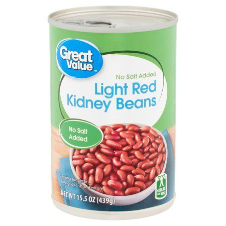 Great Value No Salt Added Light Red Kidney Beans 15 5 Oz Walmart Com In 2020 Red Kidney Bean Kidney Beans No Sodium Foods