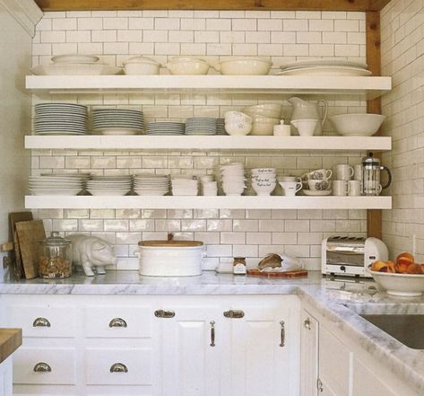 open shelves - white kitchen