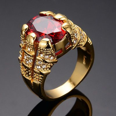 Size 8 Engagement Ruby Rings CZ Wedding Jewelry Women/'s 10kT Yellow Gold Filled
