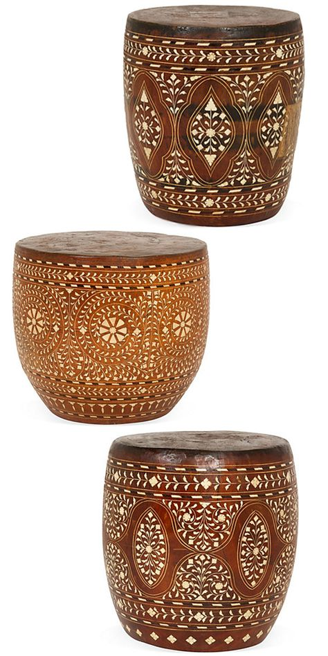 Wood and Bone Inlay Stools from South India