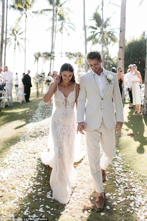 The best wedding dresses Vogue Brides has ever seen Eleanor Pendleton wearing a sheer low-back, low-neckline Pallas Couture gown at her Boracay Island wedding with husband Mathew Wilson. Western Wedding Dresses, Best Wedding Dresses, Bridal Dresses, Wedding Gowns, Beach Wedding Groom Attire, Tan Wedding Suits, Tan Tuxedo Wedding, Island Wedding Dresses, Beach Groom