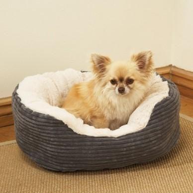 Grey Jumbo Cord Plush Dog Bed Medium Dog Bed Plush Dog Beds Plush Dog