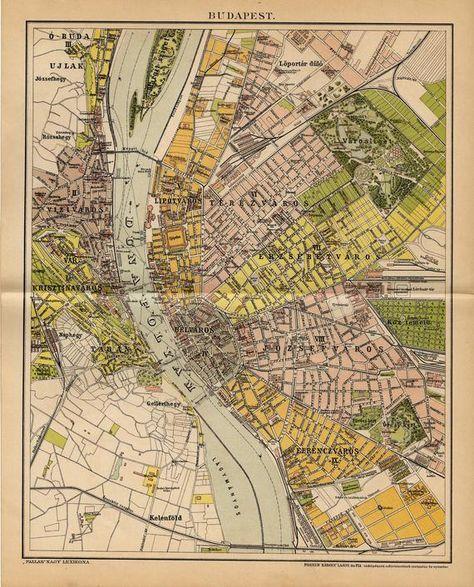 Antique Map Of Budapest From 1893 Budapest Mapas Antiguos Mapas