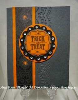 Stampin' Up! ... handmade Halloween card from Stamps, Paper, Ink Create! Tags 4 You ... flip-it card format ... black base card ... orange highlights ... embossing folder border texture ... like it!!
