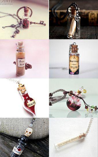Fairy Garden Mixed Media Jewelry Making Charm. 5 Tiny Potion Bottles Vials Glass Corked Fairy Bottle Spell Bottle