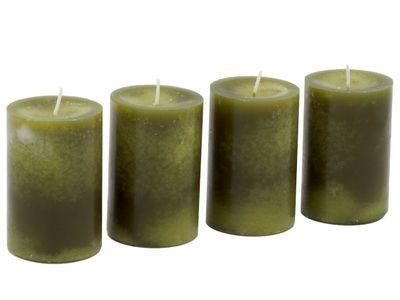 4 Stumpenkerzen Kerzen Grun Olive 6cm Stumpenkerzen Kerzen
