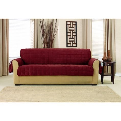 Sure Fit Deep Pile Velvet Sofa Furniture Protector With Paw Print Reverse Sofa Burgundy Red Sofa Furniture Furniture Covers Slipcovered Sofa