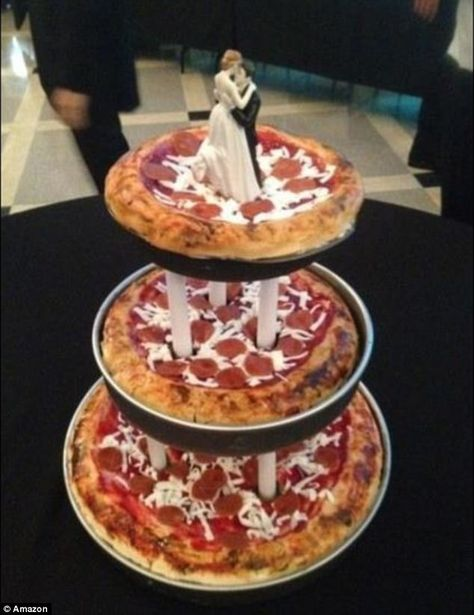 J Chirinos made this deep dish pizza wedding cake topped with plenty of cheese and peppero...