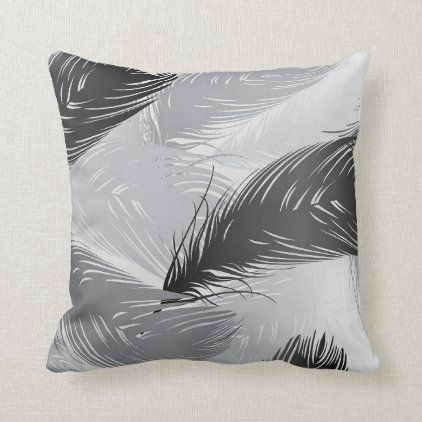 Black White And Gray Feather Design Throw Pillow Zazzle Com In 2020 Throw Pillows Feather Design Designer Throws