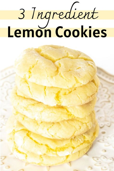 Easy 3 Ingredient Lemon Cookies - These soft and chewy lemon cake mix cookies are incredibly delicious and super easy to make with just 3 ingredients! #Cookies #Lemon #CookieRecipes #CakeMixCookies #EasyCookies #EasyDesserts #LemonDesserts