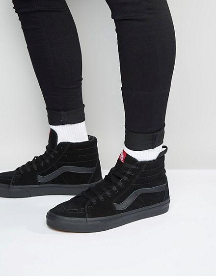 Vans Sk8 Hi Suede Sneakers In Black VD5IBKA in 2020 | Vans