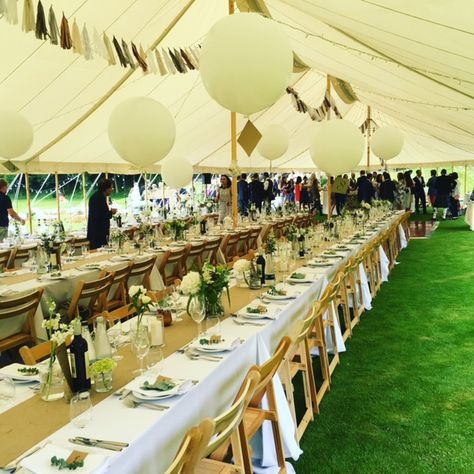 Fun Balloons And Tassel Bunting With Marquee Straight On To Grass For Green Carpet Eff Marquee Decoration Rustic Outdoor Wedding Rustic Style Wedding