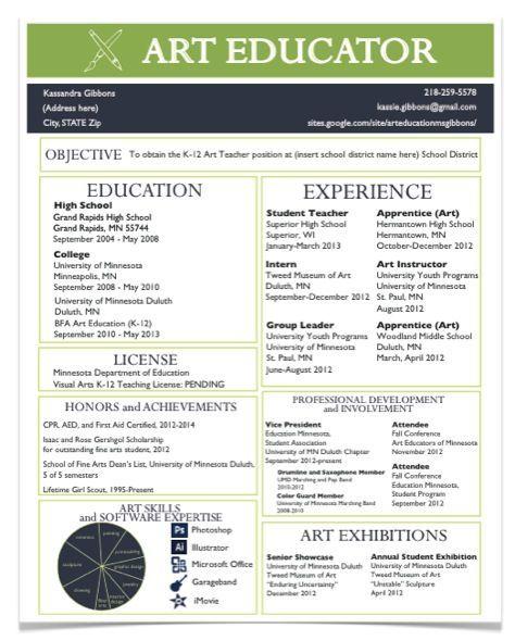 A Resume For The Modern Art Teacher Teacher Portfolio Teacher
