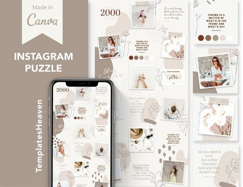 Canva Instagram Puzzle Feed Template, Boho Beige Instagram Puzzle Template, Social Media Templates, Instagram Templates, Instagram Marketing