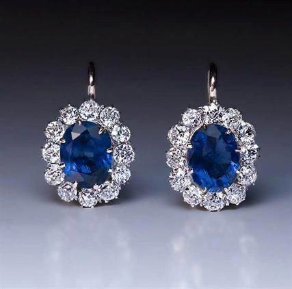 Pin By Ramchurn Nandinee On Omshanti In 2020 Diamond Cluster Earrings Blue Sapphire Jewelry
