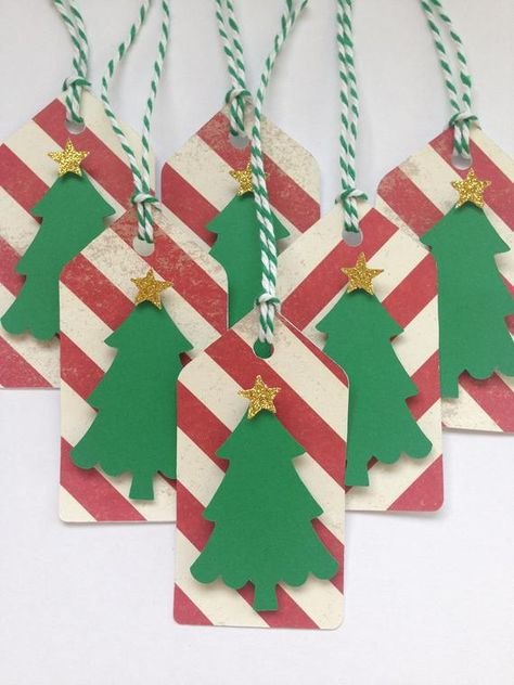 Christmas tree gift tags/Christmas tree party favor tags. These festive Christmas tree tags are the perfect finishing touch to your Christmas gift or goodie plate. Decorate your party favor bags, boxes, or buckets. Use for crafts or scrapbooking. Tags are made with a lovely red striped paper. A