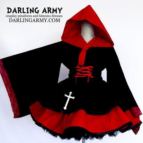 Cosplay Wishlist: Ruby and Black Hooded Cosplay Kimono Dress with Corseted Waist