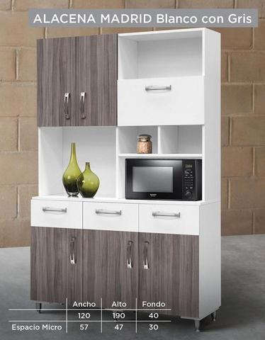 Alacena Valeria - Blanco / Chocolate   Mueble de cocina en ...