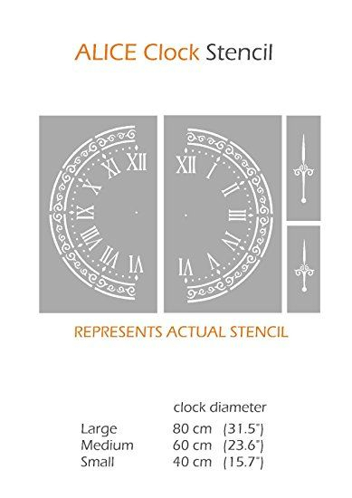 ALICE CLOCK Shabby Chic Vintage Furniture Wall Floor Stencil for Painting