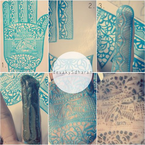 1. I chose a decent design from the lot. The adhesive was not tacky enough for me to work with it. So I applied eyelash glue to get things going. 2. I cut them up into pieces so it is easier to stick them to your skin. 3. Trim them to fit the length? 4. Slather with henna. 5. I was more interested in the palm design. 6. Only a little bit if henna seeps through the holes and makes actual skin contact.  Verdict: I don't think it can beat free hand drawn henna nor replace a henna artist.