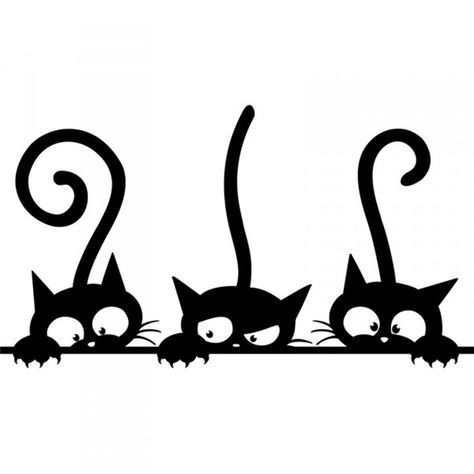 Three Cute Cat Kitten Animal Stencil Art Fun Bumper Window Decor Vinyl Sticker