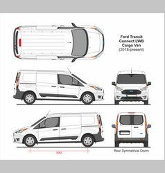 Ford Transit Connect Lwb Cargo Van 6 Doors 2018 Vector In 2020 Ford Transit Vans Vector