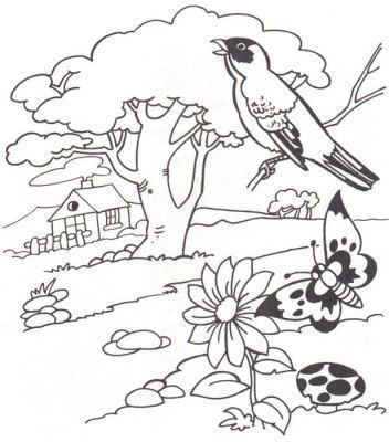 Dibujos Para Colorear De Paisajes Naturales Folk Embroidery Coloring Pages Redwork Embroidery