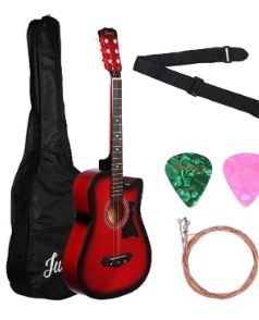 Juarez Acoustic Guitar 38 Inch Cutaway With Pick Guard 38c Rds With Bag Strings Pick And Strap Red Sunburst Acoustic Guitar Guitar Acoustic Guitar Kits