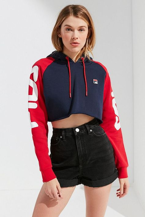 Reworked Tommy Flag Crop Hoody Red ($48) ❤ liked on