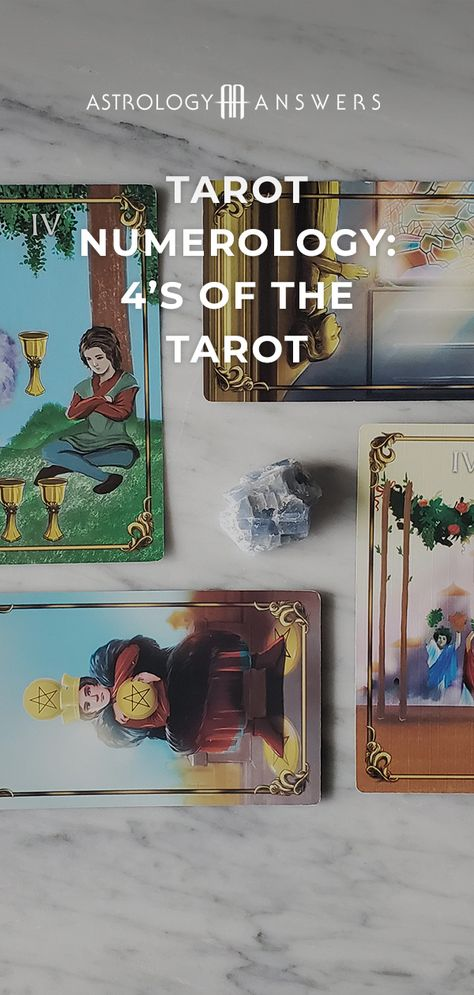 Pulled a 4 card in your latest Tarot reading? Learn about what they mean in today's article! #tarot #tarotnumerology #tarot4 #tarotmeanings #minorarcana