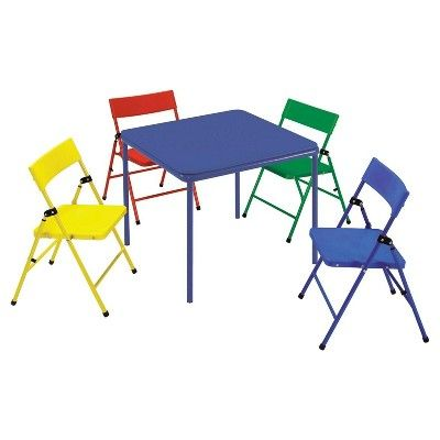 Kids 5 Piece Folding Chair And Table Set Red Yellow Blue Cosco