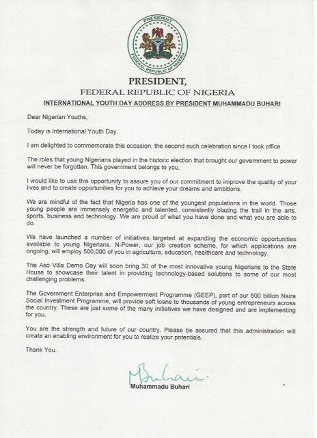 BuhariS Letter To Youths  International Youths Day To Mark The